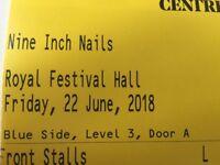 Two Front Stalls tickets for Nine Inch Nails Meltdown Festival at the Royal Festival Hall Southbank