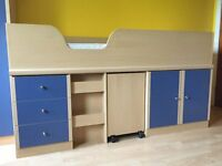 Single Bed / Cabin Bed with Storage, Desk and Mattress