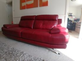 Harveys Genoa Red leather 3 seater sofas x 2 only 3 months old... Excellent condition...