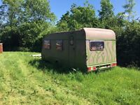 Painted play caravan, perfect for kids and occasional camping