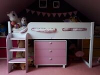 Julian Bowen Girls Kimbo cabin Bed and 3 drawer dresser in Soft Pink / White
