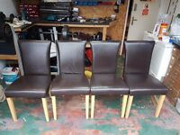 4x brown leather dining chairs
