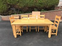 Only £300ono!! Solid Oak dining table, 8 seater with 8 seats
