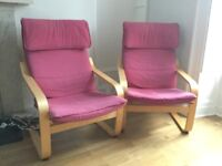 Pair of IKEA POÄNG arm chairs (FERRYHILL)