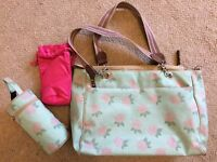 Pink Lining Hydrangea change bag with two matching bottle holders
