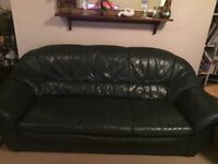Leather 3 seater sofa & 2 leather arm chairs