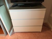 Ikea Malm 3 drawer white chest with black glass top