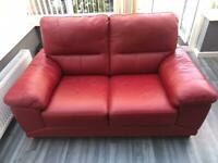 2 seater Red Real Leather sofa