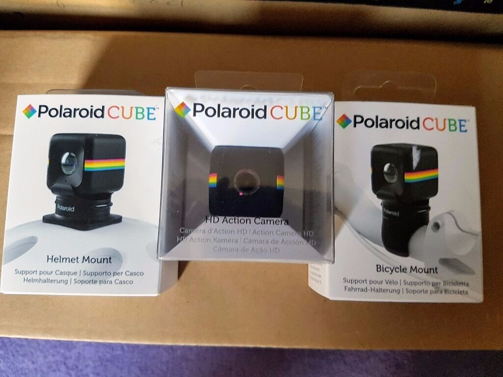 Polaroid Cube HD Action Camera set w  Mount 4 bicycle   helmet NEW SEALED e012d39729