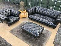 Luxury Tetrad®️Antuiqe Chesterfield Black Leather 3 Seater Sofa & Club Chair & For Sale £1,700