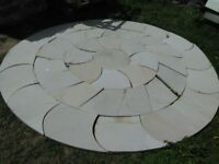 Sandstone patio. Circle sets