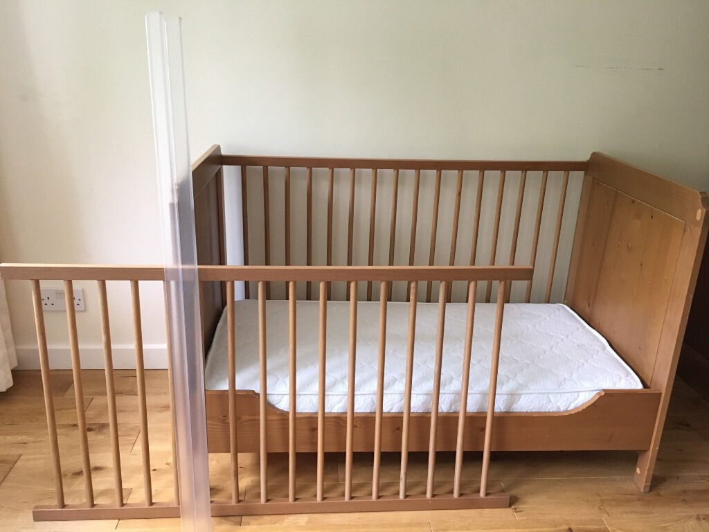 ikea leksvik baby cot crib toddlers bed with a high quality mattress and extras in barnet. Black Bedroom Furniture Sets. Home Design Ideas