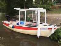 13ft day boat with trailer, 2 x outboards, fenders, oars, lifejackets