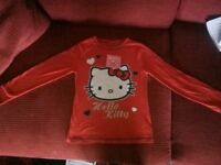 Bnwt red Hello Kitty girls t-shirt long sleeved size 78 years height 128cm absolutely gorgeous
