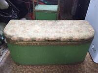 Original Vintage Retro 1950s Green Llyod Loom bedroom set. Ottoman And bedside cabinet