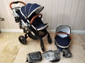 BRAND NEW iCandy Peach 3 2016/17 Royal blue Double Pram Pushchair with with Carrycot