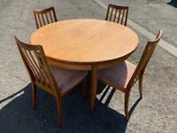Gorgeous G Plan mid century solid extendable Dining table and chairs, very good condition