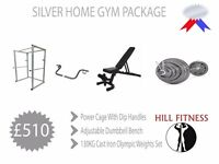 Silver Home Gym Package - Weights Dumbbell Bench Squat Stands Power Rack Cage Olympic Weights