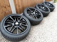 "18"" BBS ALLOY WHEELS & NEW TYRES *REFURBERD* GLOSS BLACK 5x100 vw audi seat ect"