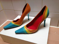 Womens size 5 multicoloured 4 inch heels from River Island, mint condition