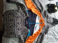 Bundle of Boys clothes, clarks shoes 7 and jacket 2-3