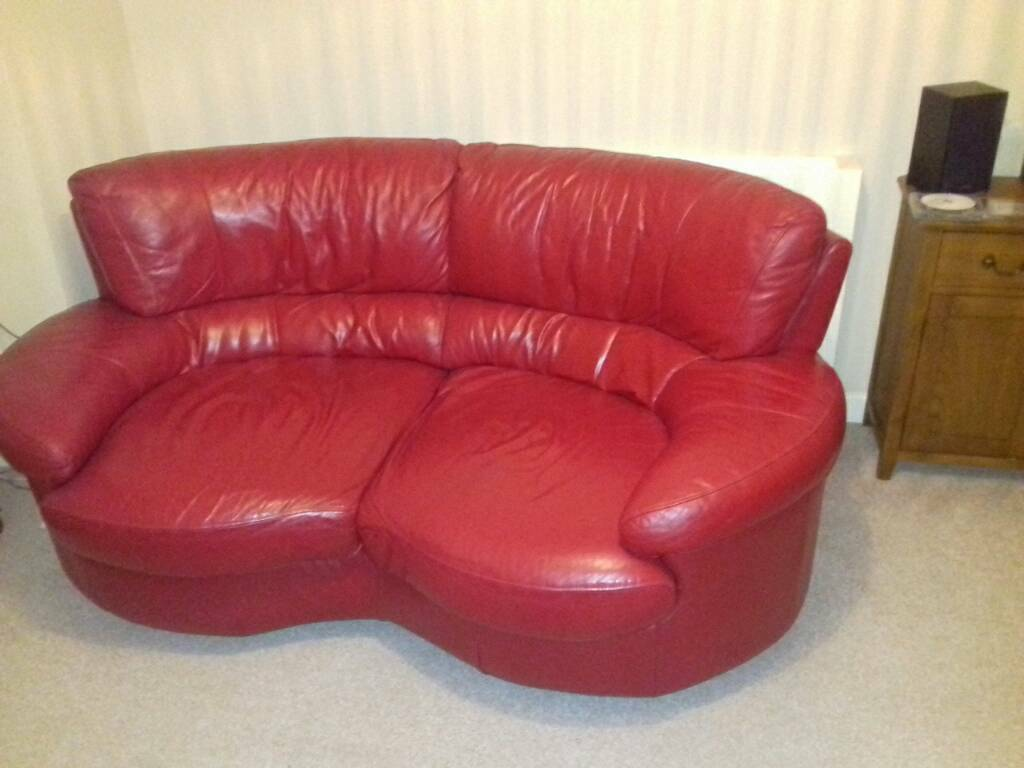 Italian Red Leather Sofa