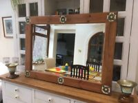 Large pine mirror with inset ceramic tiles