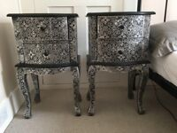 Blackened Silver Metal Embossed Bedside Tables with drawers