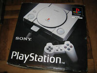 SONY PLAYSTATION (PS1) boxed + games, pads, memory card.