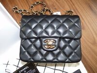 Chanel classic mini with gold hardware / black / brand new