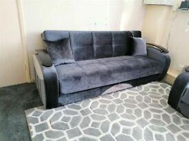 🤘🏻💓2020 BIG BUYS TURKISH DESIGN FABRIC STORAGE SOFA BEDS SETTEE BLACK BROWN GREY SOFABED