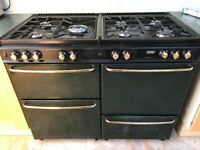 ''Newhome' stove, green duel fuel range cooker 110cm wide