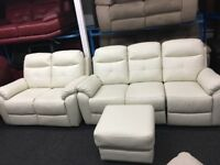 New/Ex Display Maple LazyBoy Leather 2 Seater + 3 Seater Recliner Sofas