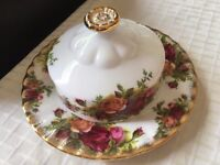 Royal Albert Muffin-shaped Butter Dish cover only or complete (Old Country Roses)