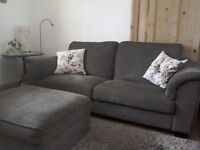 Lovely mink brown, high back, 3/4 seater sofa and footstool with storage.