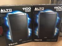 2 x Alto TS215 Speakers 1100 Watts to rent inc. mix desk and cables