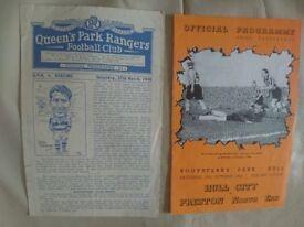 Rare 1940's football programmes