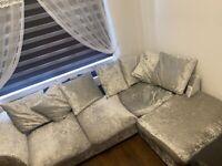 Megan Large Right Corner Fabric Sofa - Silver