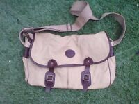 JOHN CHAPMAN BESPOKE LEATHER AND CANVAS SHOULDER BAG