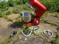 Andrew James 1300 Watt Electric Food Stand Mixer In Red with all accessories baking