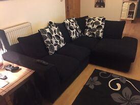 Black fabric corner couch