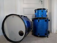 Jazz drum kit, cases and stands