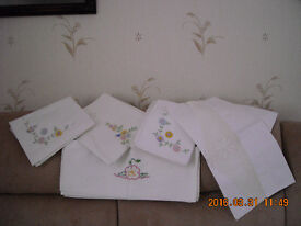 Unused white hand embroidered pillow cases