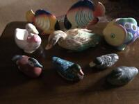 A range of ducks and fish ornaments