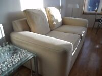 COUCH, 2 SEATER IN BEIGE CLOTH, LOVELY CONDITION £35 ONO