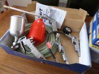 Air compressor 5pc tool set plus Filter Regulator and line Lubricator