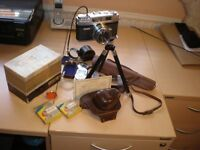 35mm Mamiya camera,Teloscopic Tripod, Seconic Light Meter, Light Filter, & Sun Hood