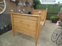 SOLID PINE FARMHOUSE QUEEN SIZE BED ABSOLUTELY STUNNING HANDMADE BED VERY CHUNKY ONE