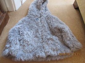 Next Girls Grey Fur Jacket To Fit Age 3-4 Years