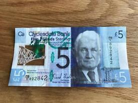 Clydesdale Bank five pound note